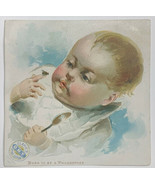 Old Victorian Trade Card Clark's ONT Spool Cotton Baby Born To Be Philos... - $14.65
