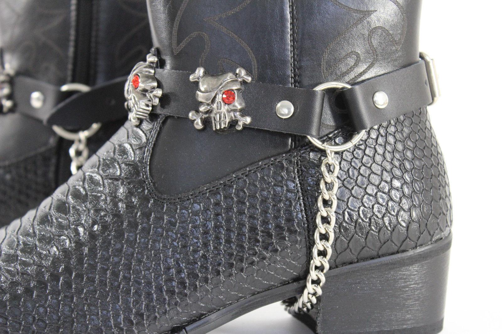 New Men Biker Boots Bracelets Chain Black Leather 2 Straps Skull Skeleton Pirate