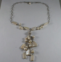.925 SILVER RHODIUM NECKLACE WITH RECTANGULAR AND ROUND FRESHWATER WHITE PEARLS image 2