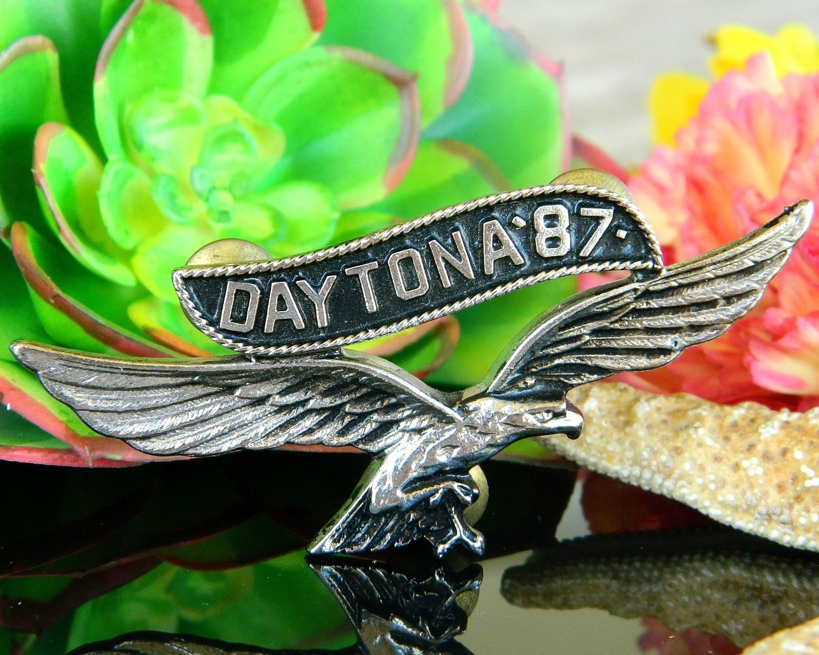 Vintage Daytona 1987 Motorcycle Rally Soaring Eagle Pin Jacket Biker image 11