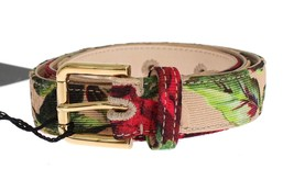 Dolce & Gabbana Roses Print Brocade Gold Buckle Belt - $83.85+