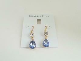 Charter Club Gold Tone Tanzanite Teardrop Earrings - New - $14.85