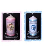 New Baby Boy or New Baby Girl personalised Stork Candle Pink or Blue gift - $17.81