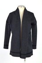 VINCE Soft Luxe Charcoal Black Merino Wool Knit Shawl Sweater Cardigan D... - $84.14