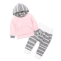 Autumn Winter Baby Clothing Floral Newborn Baby Girl Hooded Tops Striped... - $15.20