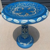 Ceramic Bird Bath Outdoor Garden Decor Lawn Patio Flower Blue White - $32.73