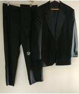 Men's Black Wool Tuxedo Jacket Pants Size 34 Satin Notch Lapel Formal Su... - $35.95