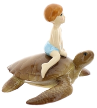 Hagen-Renaker Miniature Ceramic Turtle Figurine Sea Turtle with Boy Riding image 3
