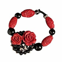 Vintage Rose Bracelets Metal and Black Agate Bracelets Charm Bracelets 15 CM