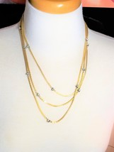 Les Bernard Signed 60 Inch Vintage Necklace Gold tone and Rondelles Rhin... - $112.50