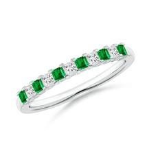 Princess cut Natural Emerald Diamond Half Eternity Womens Wedding Band 0... - $854.66+