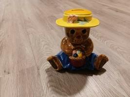 "Bear Bank Ceramic Basket Kids Children Coin Piggy Bank 5 1/2"" Baby Nursery - $25.00"