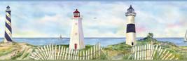 Eugene Light Blue Coastal Lighthouse Portrait Wallpaper Border Chesapeak... - $20.99