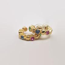 Gold Tone Pastel Rhinestone Hoop Earrings Signed - $15.84