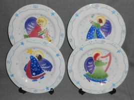 Set (4) Block ANGELICA PATTERN Salad Plates DEB MORES Holiday - Christmas - $19.79