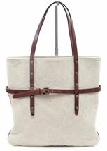 TOMAS MAIER Shoulder Bag Tote Canvas Brown Leather Metal Stud - $166.25