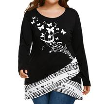 Large Size Women Butterfly Musicial Note T-shirt Long Sleeve Tops Blouse - $40.29+