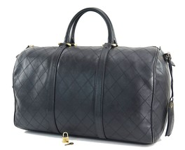 Authentic CHANEL Black Leather Boston Tote Duffle Hand Bag Purse #29511 - ₨70,387.13 INR