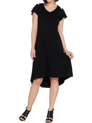 H BY HALSTON Size XS Knit Crepe Dress with Cutout Detail BLACK