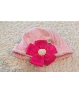 Baby Aspen Pink White Polka Dots Ribbon Flower Baby Infant Cap Hat 0-6 M... - $3.00
