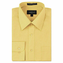 Omega Italy Men's Yellow Dress Shirt Long Sleeve Regular Fit w/ Defect - 4XL
