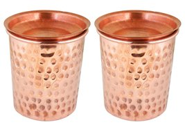 Indian Copper Tumbler Hammered Glasses for Healing Ayurvedic Product set... - $15.74