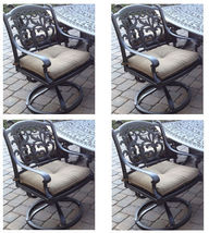 Outdoor 7 pc dining set patio furniture oval table cast aluminum chairs Bronze image 4