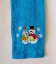 Snowman Hand Towel, Embroidered, Blue Fingertip, Holiday Christmas Velour image 1