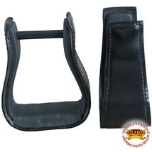 Hilason Western Saddle Black Leather Covered Horse Saddle Stirrups Pair U-00BK - $37.57