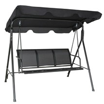 3 PERSON SWING BENCH CHAIR GLIDER OUTDOOR BLACK CANOPY PORCH PATIO DECK ... - $163.64