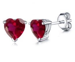 Heart Shape Pink Sapphire Women's Stud Earrings 14k White Gold Plated 925 Silver - $35.20