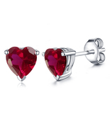 Heart Shape Pink Sapphire Women's Stud Earrings 14k White Gold Plated 92... - $35.20