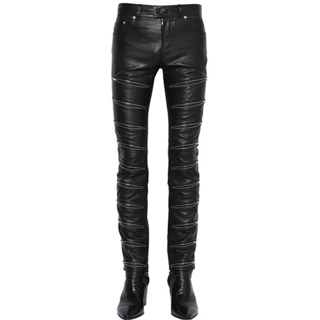 Zip Detailing Men Leather Pant
