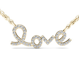 IGI Certified 10k Yellow Gold 0.15 Ct Natural Diamond Love Pendant Necklace - $199.99