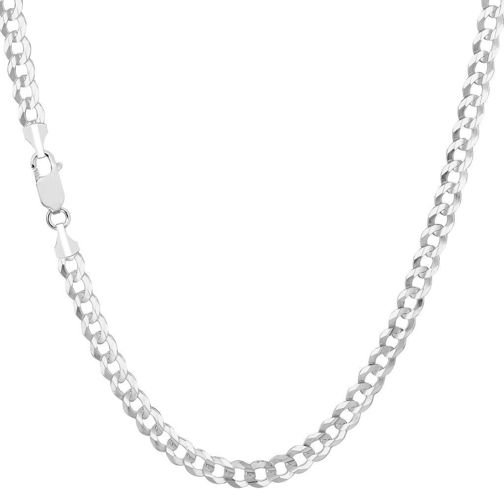Solid 14k White Gold Comfort Cuban Curb 3.6mm Chain Necklace, 30""