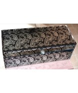 Gorgeous Black Silver Arabesque Paisley Mirror Glass Jewelry Box Velvet ... - $56.09