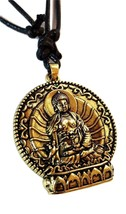 Buddha on Lotus Pendant Brass Tone Beaded Long Cord Necklace Meditation ... - $19.67