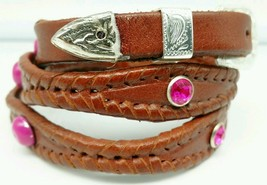 NEW Brown HATBAND Scalloped Braided Leather PINK CRYSTALS & CONCHOS Hat ... - $21.71