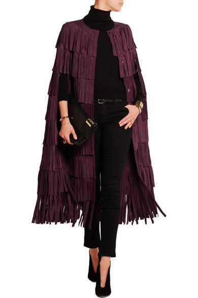 WOMEN'S NEW IN FASHION FRINGES SUEDE LEATHER CAPE PONCHO BOHO HIPPY SHAWL WC132 image 5