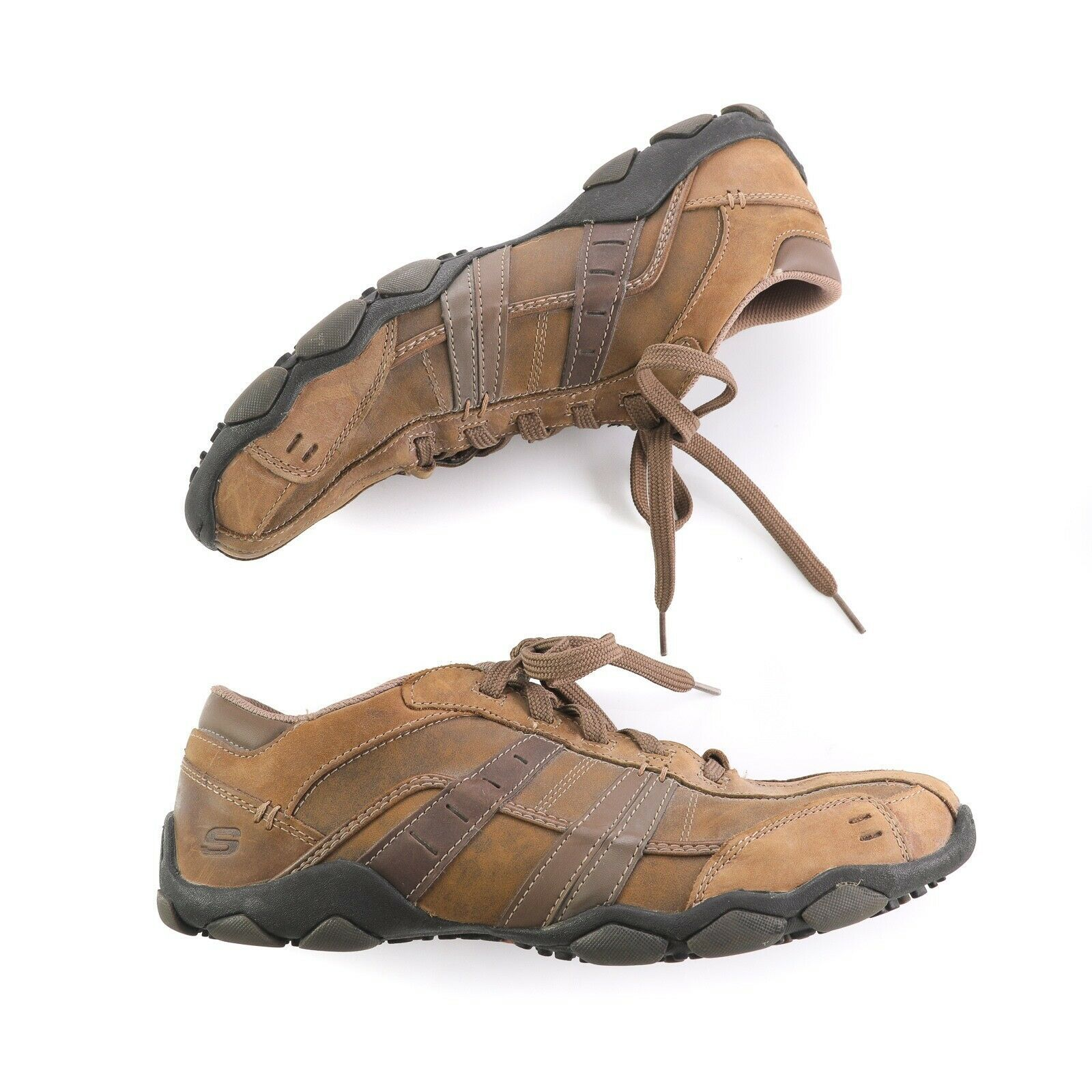 Skechers Brown Leather Bicycle Toe Fashion Sneakers Shoes Mens 10 SN 62607