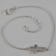 18K WHITE GOLD THIN 1 MM BRACELET 7.10 INCHES, WITH MINI CROSS, MADE IN ITALY image 2