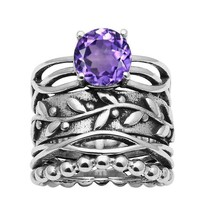 925 Silver Amethyst Single Stone Leaf Engraved Beaded Unique Band Ring - $48.22