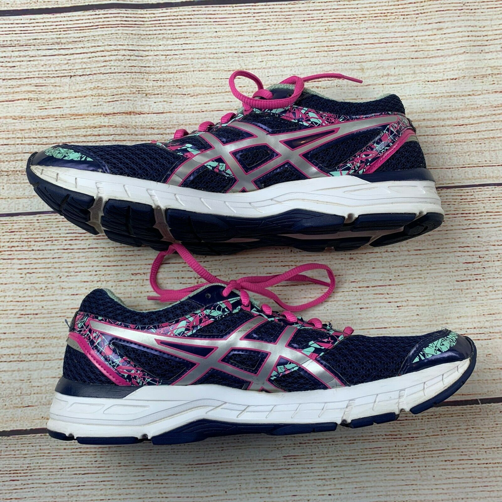 Asics womens Gel Excite 4 Navy Pink Running Shoes Sneakers 10/ 42 EUC image 5