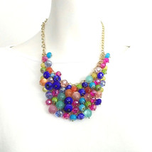 M Haskell Goldtone Multicolor Beaded Trendy Bubble Womens Necklace Glass... - $23.36