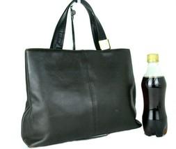 Authentic BURBERRY Chocolate Leather Tote Hand Bag Purse Handbag Used Vi... - $147.51