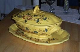 Antique Lelex Salins France Ceramic Plater & Lidded Vegatable/Soup Turee... - $57.40