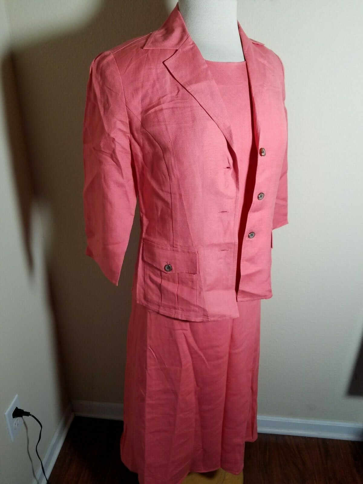 Talbots Petites Women's Dress Set Linen Blend Pink Sleeveless Maxi & Jacket 4 image 6