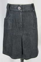 Talbots Skirt size 10 Denim Jean Knee A Line Kick Pleat Stretch Modest No Slit - $29.97