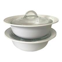 2 Corning Casual Elegance White Flora Casserole Serve Bowls L-21 1.5 Qt ... - $68.57