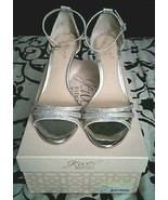 Jewel Badgley Mischka Antonette Silver Glitter Strap Buckle Sandals, Sz ... - $38.99